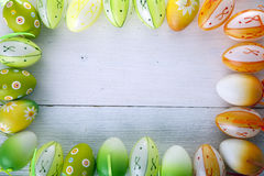 Easter eggs in white background, copyspace Royalty Free Stock Image