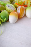 Easter eggs in white background, copyspace Stock Photos