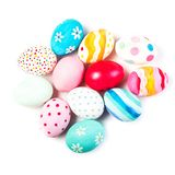 Easter eggs on white background with copyspace. Happy royalty free stock photo