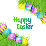 Easter eggs on white background. Happy Easter collection. Colorful eggs and grass border on white background. Realistic vector illustration stock illustration