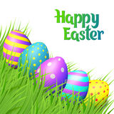 Easter eggs on white background. Happy Easter collection. Colorful eggs and grass on white background. Realistic vector illustration vector illustration
