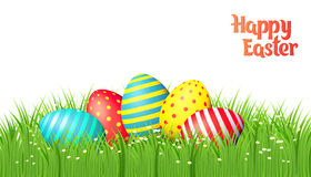 Easter eggs on white background. Happy Easter collection. Colorful eggs and grass on white background. Realistic vector illustration royalty free illustration