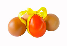 Easter eggs on a white background. Easter eggs with a tape on a white background Royalty Free Stock Image