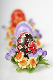 Easter eggs on white background vertical. Easter eggs on white background close up vertical Royalty Free Stock Photo