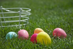 Easter Eggs and White Basket Stock Photography