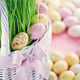 Easter eggs in a white basket Royalty Free Stock Photography