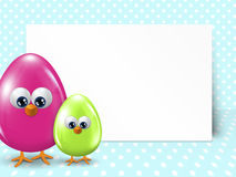 Easter eggs and white blank over dotted background Stock Images