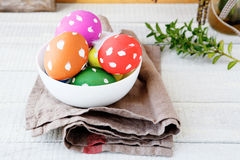 Easter eggs in a white bowl Royalty Free Stock Photos