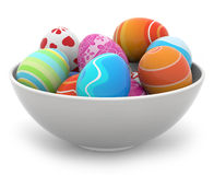Easter eggs in a white bowl Stock Photography