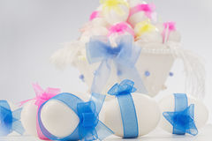 Easter Eggs in white bowl Stock Photos