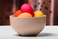 Easter eggs in a white bowl Royalty Free Stock Photo