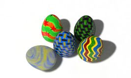 Easter eggs on white, 3d render Royalty Free Stock Image