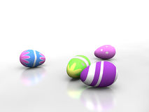 Easter Eggs in a white environment Stock Photos