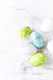 Easter eggs with white feathers Royalty Free Stock Photography