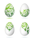Easter eggs white with floral ornament Royalty Free Stock Photos