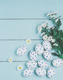 Easter eggs and white flowers on wooden background. White of egg with a pattern of blue circles Stock Images
