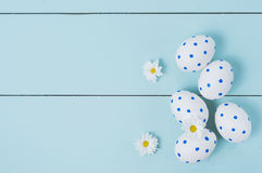 Easter eggs and white flowers on wooden background. White of egg with a pattern of blue circles Royalty Free Stock Photo