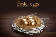 Easter eggs in white nest Stock Image