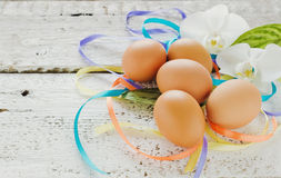 Easter eggs, white orchids and ribbon Stock Images