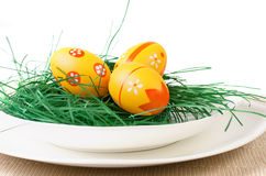 Easter eggs in white plate Royalty Free Stock Photography
