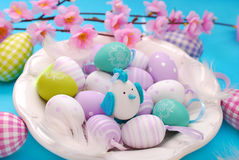 Easter eggs in white plate Stock Images