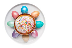 Easter eggs on the white plate Royalty Free Stock Photo