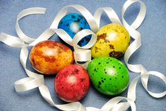 Easter Eggs with white ribbon Royalty Free Stock Image