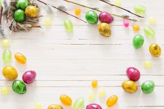 Easter eggs on white wooden backgound. The Easter eggs on white wooden backgound Royalty Free Stock Image