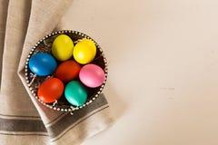 Easter eggs on white wooden desk royalty free stock photos