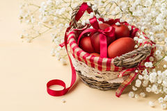 Easter eggs in the whitish nest and white flowers. On the beige table Royalty Free Stock Image