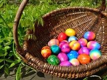 Easter Eggs in Wicker Basket. Wicker basket with colored eggs Stock Photos