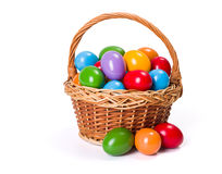Easter eggs in wicker basket. Colorful painted Easter eggs in wicker basket Stock Photography
