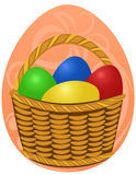 Easter Eggs in wicker basket on festive background. Design for your postcard, holiday greeting Royalty Free Stock Photos