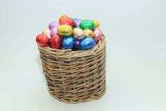 Easter eggs in a wicker basket Royalty Free Stock Image