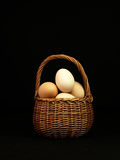Easter eggs in a wicker basket. Royalty Free Stock Photo