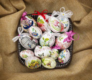 Easter eggs in the wicker basket Royalty Free Stock Image