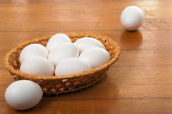 Eggs in a wicker bowl Royalty Free Stock Photos