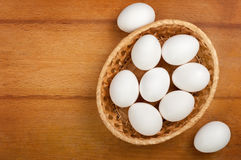 Eggs in a wicker bowl Royalty Free Stock Photography