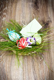 Easter eggs in the wicker Royalty Free Stock Images