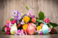 Easter eggs in the wicker Stock Photo