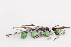 Easter eggs and willow branches on  white background Royalty Free Stock Photos