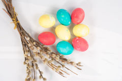 Easter eggs with a willow Royalty Free Stock Image