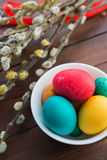 Easter eggs and willow tree Stock Photo