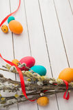 Easter eggs and willow tree Royalty Free Stock Photo