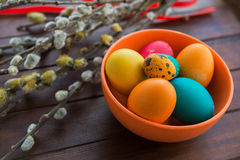 Easter eggs and willow tree Royalty Free Stock Photography