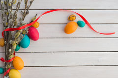 Easter eggs and willow tree Royalty Free Stock Image