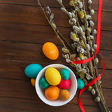 Easter eggs and willow tree Royalty Free Stock Photos