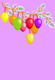 Easter eggs with willows Stock Images