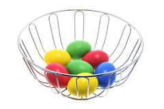 Easter Eggs in Wire Bowl Royalty Free Stock Photography
