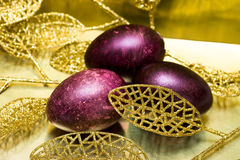 Easter Eggs With Leaves Royalty Free Stock Photos